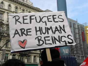 Refugees are human beings banner