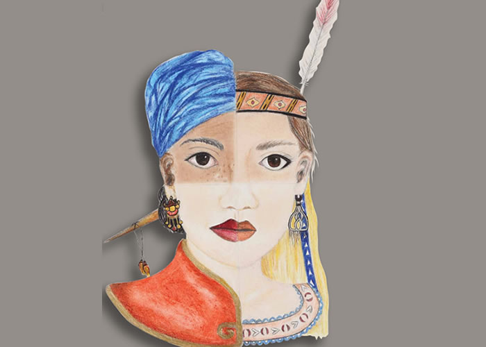 Drawing of a face dressed with head and neckwear from many cultures