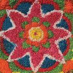 Flower image made from coloured rice