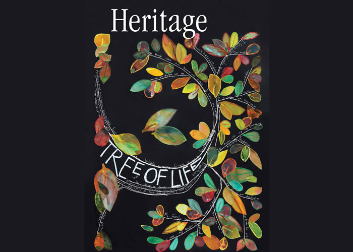 Tree branch painting with message about the heritage of the artists involved