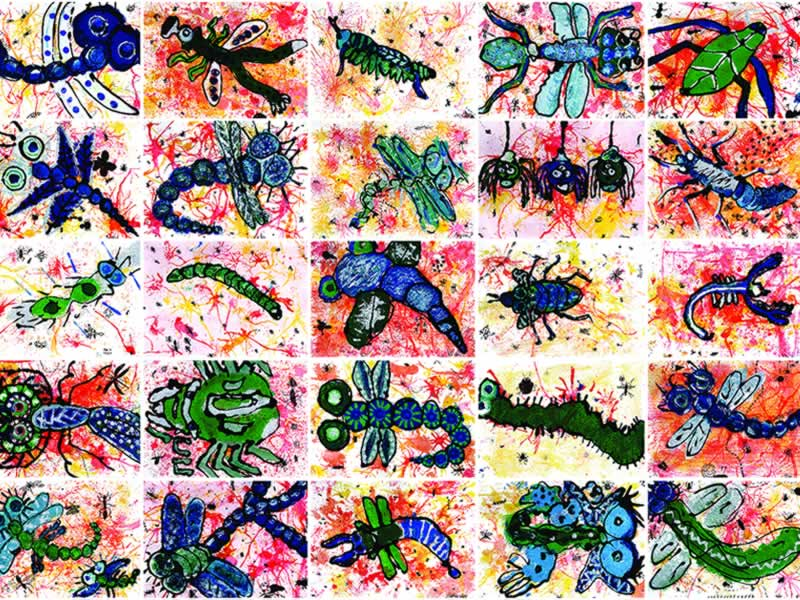 Painting: Lots of different types of bugs