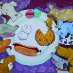 Painting of different dog breeds at a table eating fast food