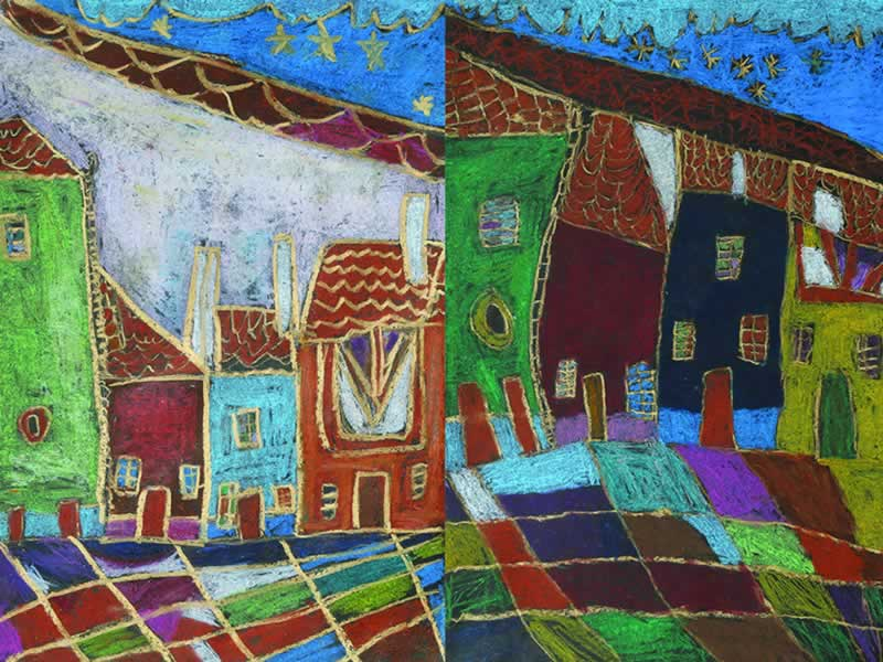 Abstact drawing: Two streeets with similar houses
