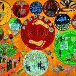 Aboriginal style painting: containing school children, native Australian animals and school scenes