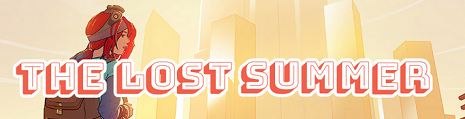 Lost summer banner - girl with backpack